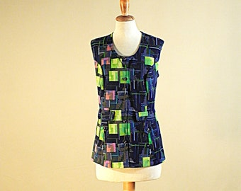 Sleeveless blue and green neon camisole  70s for spring and summer