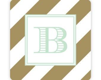 Bold Stripe Monogrammed Coasters (Set of 4)