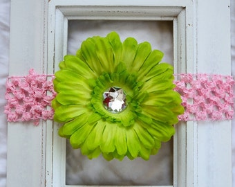 Lime Green Removable Daisy Flower Clip On Pink Crochet Elastic Headband - Gift for Girls, Babies, Toddlers Hair Accessory Baby Shower Gift