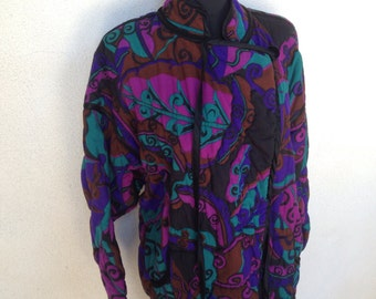 Great vintage  Purples quilted jacket by Jonathan Hitchcock for Reuben Thomas sz S/M