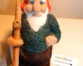 Needle Felted Wool Gnome Doll Toy Fantasy Garden Guard Treasure Art
