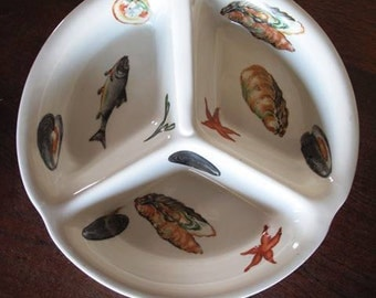 Limoges Divided Seafood Serving Plate, Bowl. Decorated with Fish, Oysters, Starfish, Mussels, White, France, Porcelaine, EMAUX  Limoges