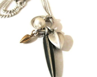 Oxidized Silver  Pendant Necklace Seed Pod Charm Necklace