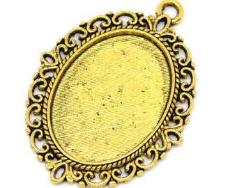 3pc Gold Tone Cabochon Settings - Fits 18x25mm - Jewelry Finding, Jewelry Making Supplies, Necklace, DIY, Ships from USA - S24