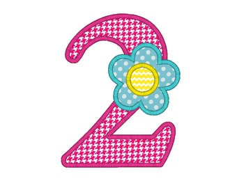 INSTANT DOWNLOAD Flower Number Two Second Birthday Machine Embroidery Digital Applique Design