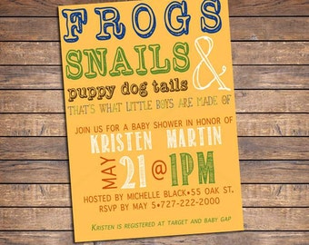 Boy Baby Shower Invitations: Frogs, Snails and Puppy Dog Tails Invitation, Printable Baby Shower Invite, Green, Blue, Brown, Orange