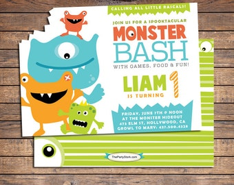 Monster Birthday Invitation, Monster Invitations, Little Monster First Birthday Party Invitation, Printable Boys Party Invite, Digital