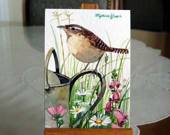 ACEO Limited Edition 10/25 - Aunt's Backyard, Wren bird Art print of an ORIGINAL ACEO watercolor painting, Gift for bird lovers
