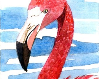 ACEO Limited Edition - Red Flamingo, in watercolor