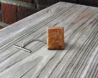 Maple Burl Wood Tie Tack Handmade