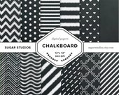 Chalkboard 12 Piece Digital Scrapbook Paper Mega Pack - Personal and Commercial Use