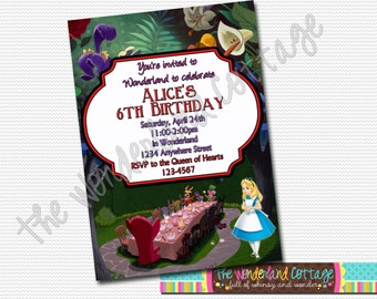 Disney Alice in Wonderland Invitation, Disney Alice in Wonderland birthday invite, Disney Alice in Wonderland party birthday invitation