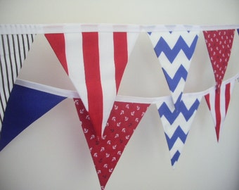nautical, anchor, red, blue, black and white fabric bunting, flag banner - 10 Flags