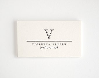 ACADEMY Letterpress Calling Cards - Custom Simple Business Cards - Monogram