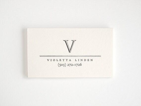 ACADEMY Letterpress Calling Cards - Custom Simple Business Cards - Monogram