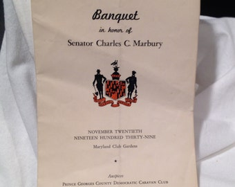 Maryland History Prince George's  County 1939 Banquet Program Senator Marbury
