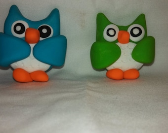 Polymer Clay - Owl Magnets