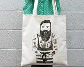 45% OFF SALE - Bearded Tattoo Man - Sensitive Joe Canvas Tote Bag