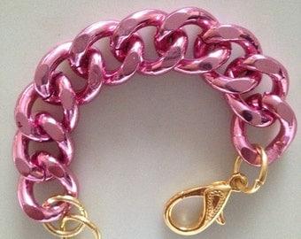 Chunky Pink Bracelet, Pink jewelry,