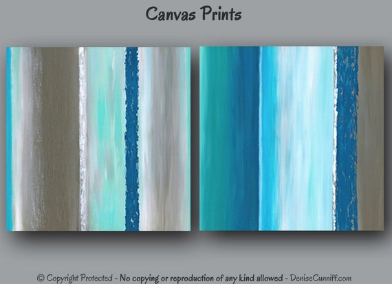 Large Wall Art Abstract Teal Home Decor Bedroom By