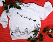 Kid's Christmas Sweater - Sleigh Ride over Rooftops