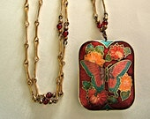 Vintage Red Butterfly Necklace Boho Chic Chinese Jewelry Unique Bohemian Flower Necklace Collectibles Mother's Day Gifts for Her
