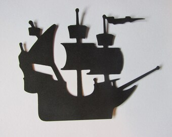 10 Pirate ship die cuts, pirate ship embellishments, Pirate ship gift tags