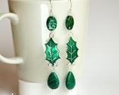 Forest fairy sterling silver long dangle ear-rings with green malachite gemstones and jasper, green leaf, long fashion earrings