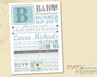 Baby Shower Invitation -- digital, custom, printable -- Baby Boy-- Baby Shower Invite