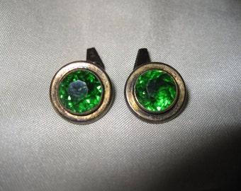 stylish cufflinks silver green glass Jeweler's initials AM diameter 1.4 cm very good condition