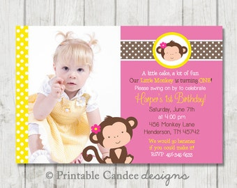 Girl Monkey Birthday Invitation - Yellow and Pink - DIY Custom Printable