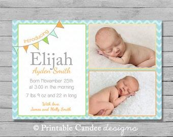 Baby Boy Birth Announcement - Modern Bunting - DIY Custom Printable