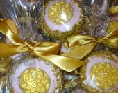 Edible Wedding Favors Pink and Gold Oreos Frost the Cake Beauty and the Beast Princess