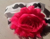 Mustache & Pink Headband fits baby to adult