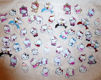 Enamel Kitty Charms - Pack of FIVE - Assorted