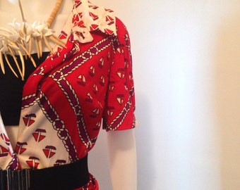 Vintage 70s Sail Boat Button up Polyester Dress
