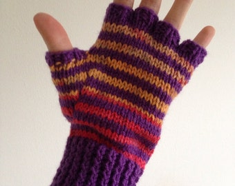 Ladies medium striped nan-knitted fingerless mittens - great for texting!