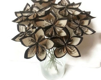 Black Hand Trimmed Vintage Book Paper Flowers with Green Wire Stems
