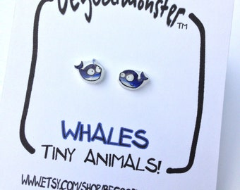 Whale Earrings  - Studs -  Shrinky Dink - Shrink Plastic