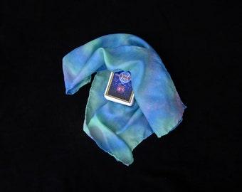 """Ocean Hues Silk Tarot Cloth - Altar Cloth - Hand Dyed 22""""x22""""...100% Silk - Tarot Wrap"""