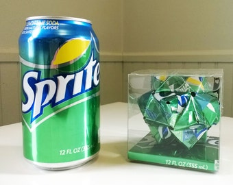 Sprite Can Origami Ornament // Upcycled Recycled Repurposed Art // Coke // Coca-Cola // Valentines Day // weird gifts
