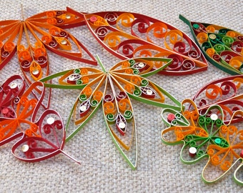 Mixed colour Set of 7 Fall / Autumn Leaves hanging decorations quilled - Eco-friendly
