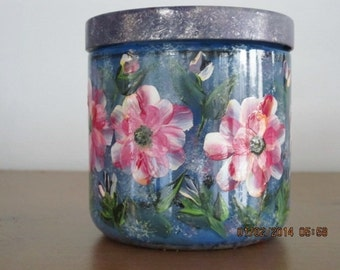Hand painted Blue Glass container with matching cover