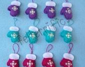 1 Dozen Handmade Felt Mini Mitten Ornaments