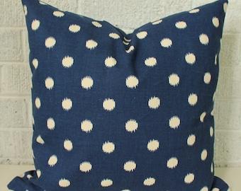 Navy white ikat polka dot pillow cover blue spots