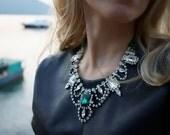 SALE Trinity - Green Jasper and Emerald Swarovski Rhinestones - rReady to ship