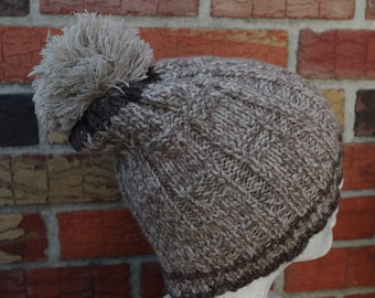 100% lambswool hand knit hat for men or women with pom-pom