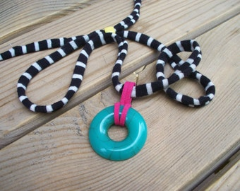 Turquoise Stone Fabric Necklace - Pink Suede Knot - Striped Fabric