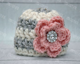 Newborn baby girl hat, grey, ecru, pink flower hat, newborn girl photo prop, baby girl clothes, coming home outfit, infant girl hat, newborn