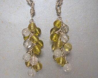 Lemon Quartz & Quartz chandelier earrings
